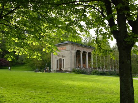 Trinkhalle in Baden-Baden with trees in the foreground