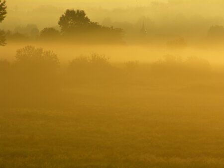 Deutschland: Wiese im Herbstnebel bei Sonnenaufgang