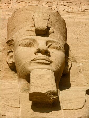 Face of the ancient Egyptian Pharaoh Ramses II in Abu Simbel - Egypt, North Africa