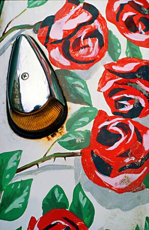 Mudguards of an old Beetle artistically painted with flowers Standard-Bild