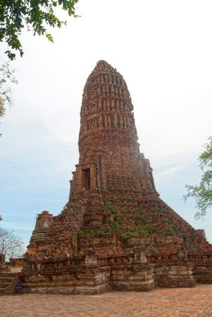 ancient pass: old stupa in Worachet temple since Ayutthaya