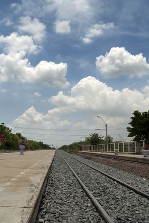 remit: in Thai train station on beautiful day