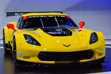 Chevrolet Corvette C7.R on display during the Geneva Motor Show, Geneva, Switzerland, March 3, 2014.   Редакционное
