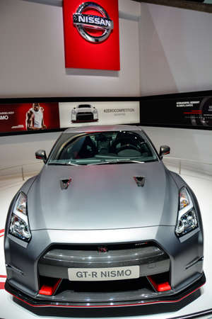 Nissan GT-R Nismo on display during the Geneva Motor Show, Geneva, Switzerland, March 4, 2014.  Stock Photo - 26390244