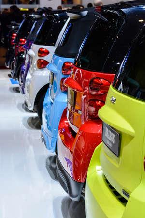 Smart cars on display during the Geneva Motor Show, Geneva, Switzerland, March 4, 2014.