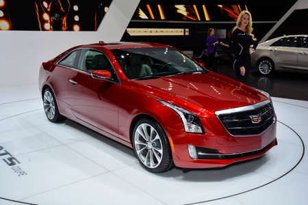 Cadillac ATS Coupe on display during the Geneva Motor Show, Geneva, Switzerland, March 4, 2014.