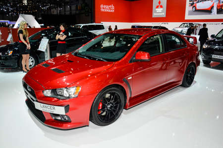 Mitsubishi Lancer EVO on display during the Geneva Motor Show, Geneva, Switzerland, March 4, 2014.  Editorial