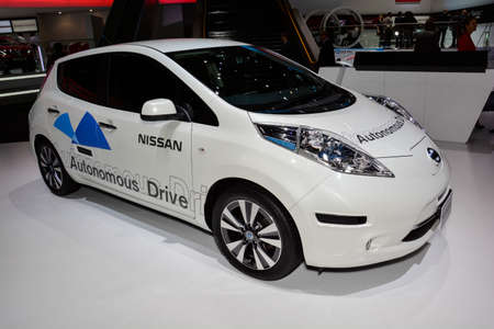 Nissan Autonomous Drive car on display during the Geneva Motor Show, Geneva, Switzerland, March 4, 2014.