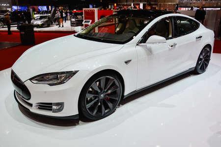 Tesla Model S on display during the Geneva Motor Show, Geneva, Switzerland, March 4, 2014.
