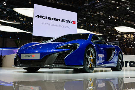 Mclaren 650S coupe on display during the Geneva Motor Show, Geneva, Switzerland, March 3, 2014.   Editorial