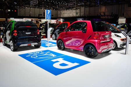 スマート駐車場表示、ジュネーブ モーター ショーで、ジュネーブ、スイス連邦共和国、2014 年 3 月 4 日。