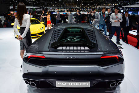 Lamborghini Huracan on display during the Geneva Motor Show, Geneva, Switzerland, March 4, 2014.