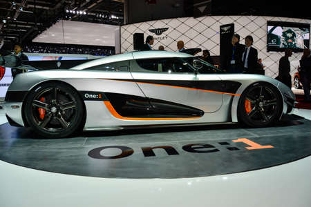 Koenigsegg One:1 on display during the Geneva Motor Show, Geneva, Switzerland, March 4, 2014.