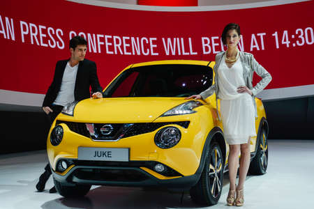 Nissan Juke on display during the Geneva Motor Show, Geneva, Switzerland, March 4, 2014.