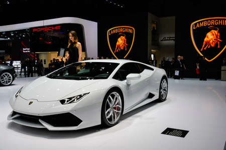 Lamborghini Huracan unveiled during the Geneva Motor Show, Geneva, Switzerland, March 4, 2014.  Редакционное