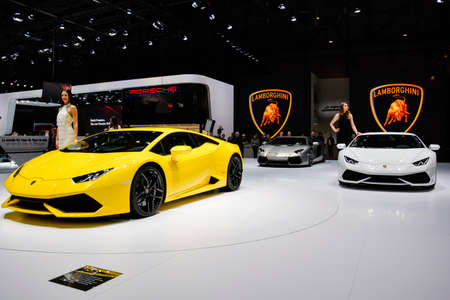 Lamborghini Huracan unveiled during the Geneva Motor Show, Geneva, Switzerland, March 4, 2014.  Editorial