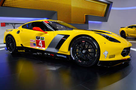 chevrolet: Chevrolet Corvette C7.R on display during the Geneva Motor Show, Geneva, Switzerland, March 4, 2014.