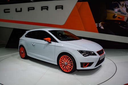 Seat Leon Cupra on display during the Geneva Motor Show, Geneva, Switzerland, March 4, 2014.