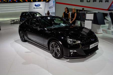 subaru: Subaru BRZ on display during the Geneva Motor Show, Geneva, Switzerland, March 4, 2014.  Editorial