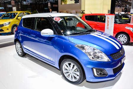Suzuki Swift on display during the Geneva Motor Show, Geneva, Switzerland, March 4, 2014.  Stock Photo - 26474241