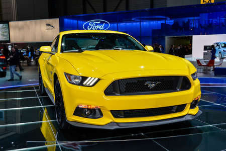 Ford Mustang coupe on display during the Geneva Motor Show, Geneva, Switzerland, March 4, 2014.  Editorial