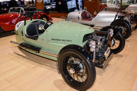 three wheeler: Morgan Three Wheeler on display during the Geneva Motor Show, Geneva, Switzerland, March 4, 2014.