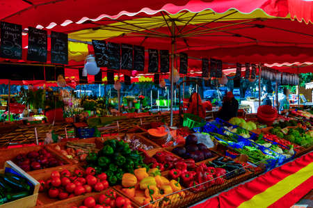 vegtables: MONTE CARLO, MONACO - MARCH 12: At the traditional market at La Condamine there is an amazing display of fresh flowers and produce each day. Monte Carlo, Monaco on March 12 2014.  Editorial