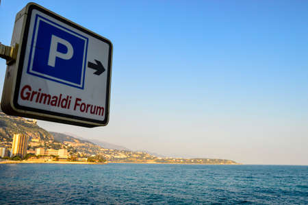MONTE CARLO, MONACO - MARCH 12: Humorous sign indicating parking for the Grimaldi Forum is in the Mediterranean, Monte Carlo, Monaco on March 12 2014.