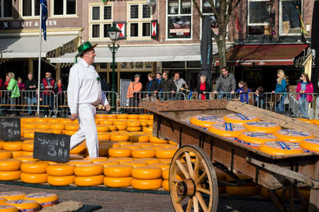 t square: ALKMAAR, NETHERLANDS - APRIL 11: The centuries old cheese market in Alkmaar is by far the towns biggest tourist attraction. Every Friday morning from April through September at 10:00 the Waagplein (weighing square) comes to life, full of vendors selling t