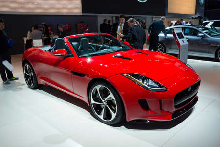 Detroit, MI, USA - January 12, 2015: Jaguar F-Type on display during the 2015 Detroit International Auto Show at the COBO Center in downtown Detroit. Редакционное