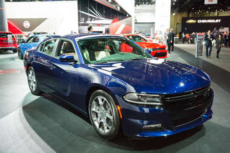 dodge: Detroit, MI, USA - January 12, 2015: Dodge Charger on display during the 2015 Detroit International Auto Show at the COBO Center in downtown Detroit.