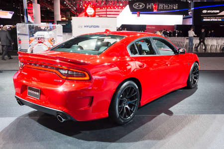 dodge: Detroit, MI, USA - January 12, 2015: Dodge Charger SRT Hellcat on display during the 2015 Detroit International Auto Show at the COBO Center in downtown Detroit.