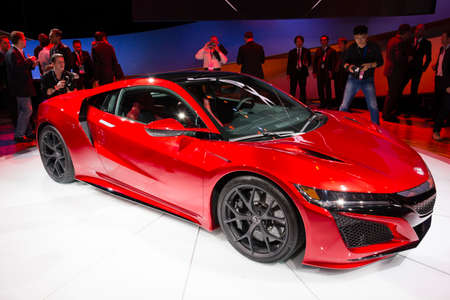 acura: Detroit, MI, USA - January 12, 2015: Acura NSX on display during the 2015 Detroit International Auto Show at the COBO Center in downtown Detroit.