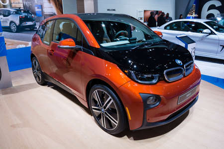 i3: Detroit, MI, USA - January 12, 2015: BMW i3 on display during the 2015 Detroit International Auto Show at the COBO Center in downtown Detroit.