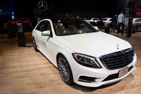 mercedes: Detroit, MI, USA - January 12, 2015: Mercedes S-Class plug-in hybrid on display during the 2015 Detroit International Auto Show at the COBO Center in downtown Detroit.