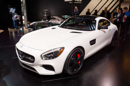 mercedes: Detroit, MI, USA - January 12, 2015: Mercedes AMG GTS on display during the 2015 Detroit International Auto Show at the COBO Center in downtown Detroit.