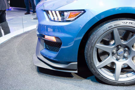 mustang gt: Detroit, MI, USA - January 12, 2015: Ford Shelby GT 350 R on display during the 2015 Detroit International Auto Show at the COBO Center in downtown Detroit.