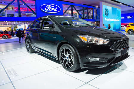auto focus: Detroit, MI, USA - January 12, 2015: Ford Focus on display during the 2015 Detroit International Auto Show at the COBO Center in downtown Detroit.
