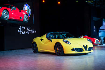 romeo: Detroit, MI, USA - January 12, 2015: Alfa Romeo 4C Spider on display during the 2015 Detroit International Auto Show at the COBO Center in downtown Detroit.