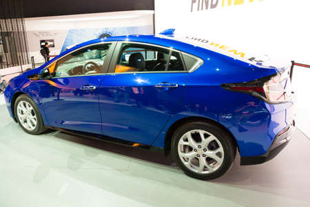 chevrolet: Detroit, MI, USA - January 12, 2015: Chevrolet Volt hybrid on display during the 2015 Detroit International Auto Show at the COBO Center in downtown Detroit.