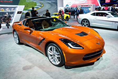 chevrolet: Detroit, MI, USA - January 12, 2015: Chevrolet Corvette Stingray on display during the 2015 Detroit International Auto Show at the COBO Center in downtown Detroit. Editorial