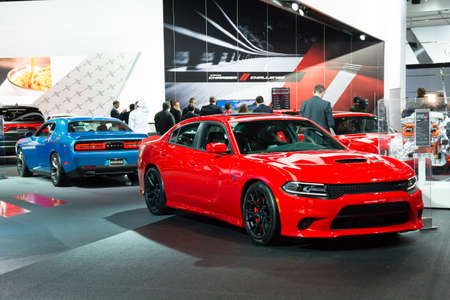 dodge: Detroit, MI, USA - January 12, 2015: Dodge Charger Hellcat on display during the 2015 Detroit International Auto Show at the COBO Center in downtown Detroit.