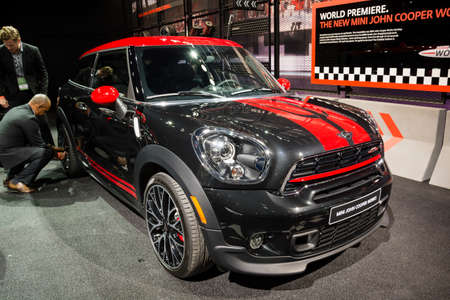 cooper: Detroit, MI, USA - January 12, 2015: Mini John Cooper Works on display during the 2015 Detroit International Auto Show at the COBO Center in downtown Detroit.