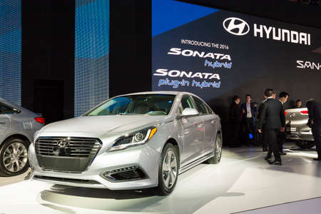 sonata: Detroit, MI, USA - January 12, 2015: Hyundai Sonata plug-in hybrid on display during the 2015 Detroit International Auto Show at the COBO Center in downtown Detroit.