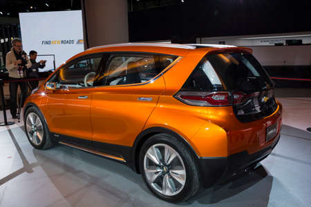 chevrolet: Detroit, MI, USA - January 12, 2015: Chevrolet Bolt electric vehicle on display during the 2015 Detroit International Auto Show at the COBO Center in downtown Detroit. Editorial