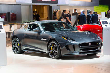 Detroit, MI, USA - January 13, 2015: Jaguar F Type on display during the 2015 Detroit International Auto Show at the COBO Center in downtown Detroit.