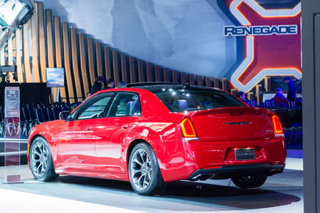 chrysler: Detroit, MI, USA - January 13, 2015: Chrysler 300 on display during the 2015 Detroit International Auto Show at the COBO Center in downtown Detroit.