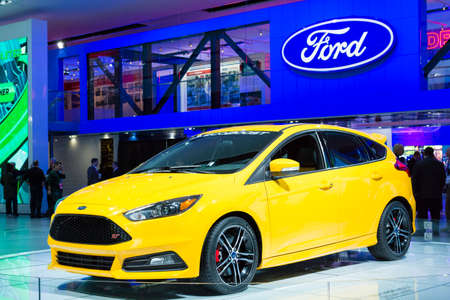 auto focus: Detroit, MI, USA - January 12, 2015: Ford Focus ST on display during the 2015 Detroit International Auto Show at the COBO Center in downtown Detroit. Editorial