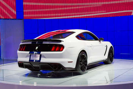 mustang gt: Detroit, MI, USA - January 12, 2015: Ford Shelby GT 350 on display during the 2015 Detroit International Auto Show at the COBO Center in downtown Detroit.