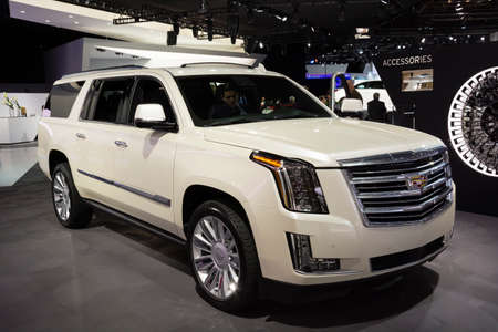 Detroit, MI, USA - January 12, 2015: Cadillac Escalade on display during the 2015 Detroit International Auto Show at the COBO Center in downtown Detroit.